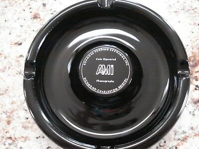 RARE Vintage AMI Phonograh Advertising ashtray black amethyst glass