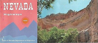 1958 NEVADA Official State Highway Road Map Las Vegas Ely Reno Kershaw Canyon
