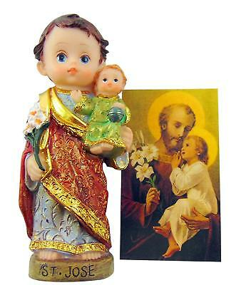 St Joseph The Home Protector Set with Child Face Statue and Holy Card Gift Set