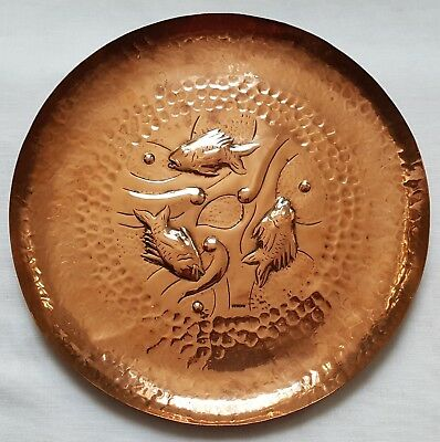 """Antique Arts & Crafts Newlyn Copper Plate 11""""  Fish Seaweed Hammered"""