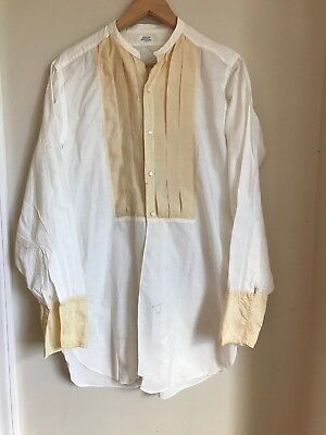 1930s 1920's Vtg Arrow Cluett Peabody Silk Cotton Shirt Tuxedo White Mens Gatsby