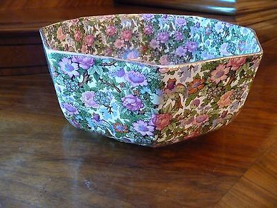 Beautiful Antique CHINTZ Octagon Bowl marked England