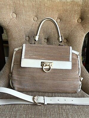 097ec9501986 Salvatore Ferragamo Medium Sofia Satchel Raffia Pebbled Leather Tan Brown  EUC