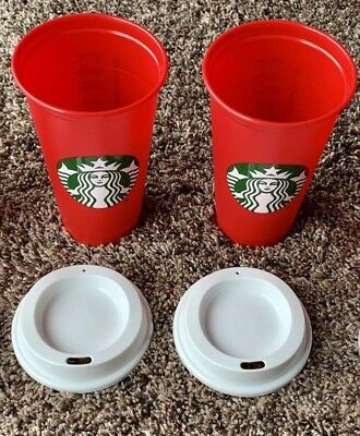 2 Starbucks 2018 Red Reusable 16oz Traveler Drinking Cup with DRINK DISCOUNT