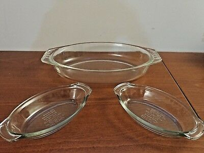 Vtg 3Qt Pyrex Oval Heavy Glass Roaster 088 Casserole + 2 16oz Anchor Au Gratin