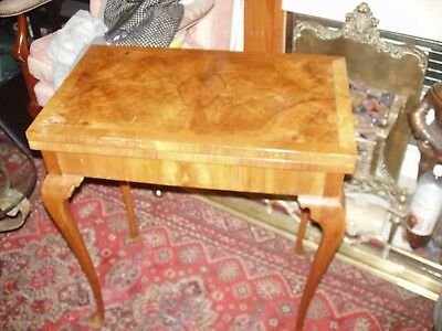 light burr walnut fold over top card games table good color 1930s