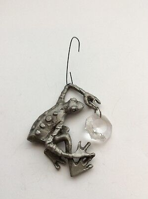 Vintage Frog Pewter Christmas Ornament With A Crystal