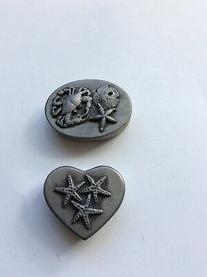 Lot Of 2 Pewter Trinket Boxes Starfish, Crab, Sand Dollar Heart, Oval