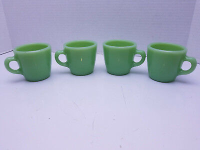VTG Fire King Jadeite Green Coffee Mug Cup C Handle Tapered Restaurant set of 4