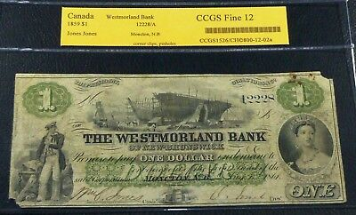 Canada Chartered Banknote . Westmorland Bank Of New-Brunswick Moncton, Nb 1861