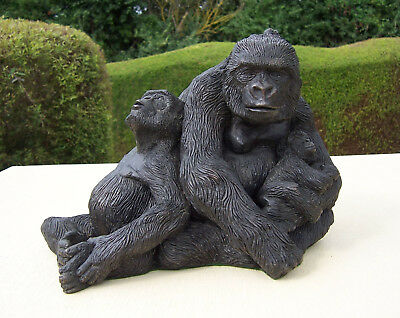 Gorilla Family Group - Cold Cast Bronze Resin Sculpture by Carn Standing