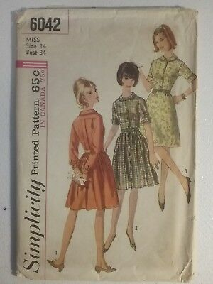 Simplicity Sewing Pattern 6042 Misses 14 One-Piece Dress With 2 Skirts Cut 1965