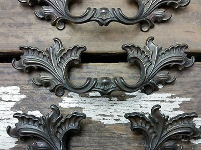 """ONE Vtg Antique Fancy SHABBY Provincial Brass Pull Handle Drawer 2 1/2"""" CC"""
