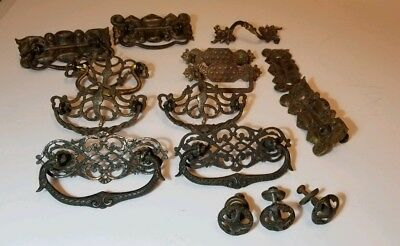 Mixed lot of antique ornate brass Victorian style drawer pulls with screws mixed