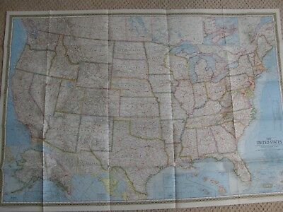 Usa, Map ,national Geographic 1968,united States Freepost, Frame Able
