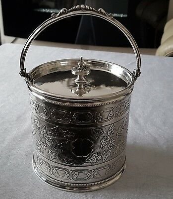 Silver plated biscuit or ice barrel. very good heavy quality item.
