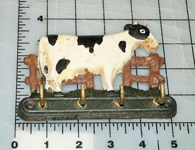 Vintage Cast Iron Standing Cow Utensil Key Holder 4 Hooks 5 1/4""