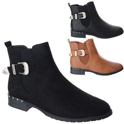 1facbaf1695 Womens Ladies Buckle Zip Up Low Block Heel Casual Ankle Chelsea Boots Shoes  Size
