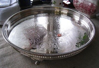 """Silver Footed Gallery Tray ~ Large 17.5"""""""
