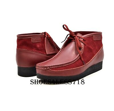 New Mens British Walkers Original Exclusive Two Tone Ox Blood Leather  Wallabees 1ba0763be