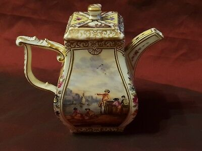 19th Century Continental Hand Painted Miniature Teapot - German - Ex Condition
