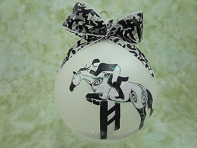 T019 Hand-made Christmas Ornament stylized HORSE tattoo - hunter jumper