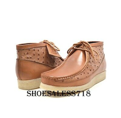 New Mens British Walkers Original Exclusive Tan Ostrich Print Leather  Wallabees fa56d649e