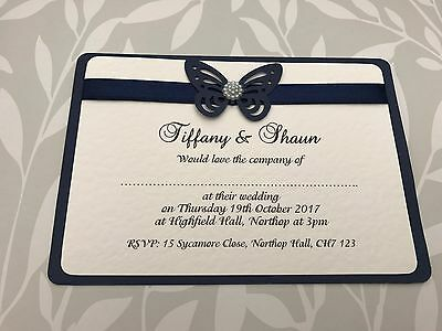 25 Wedding Invites - Navy Blue Butterfly with Pearl Centre & Matching Ribbon
