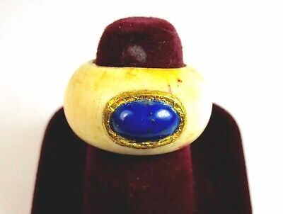 Antique Moghul Style Blue Sapphire Ring Set on 24K Gold