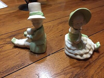 Vintage Antique Erphila Czechoslovakia Unique Bookends - Porcelain Green/white