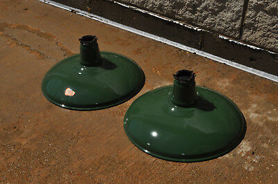 2 Antique Vintage Benjamin Green Porcelain Barn Gas Station Warehouse Lights 14""
