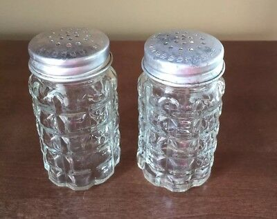 VINTAGE 1950's ANCHOR  HOCKING SALT & PEPPER SHAKERS GLASS WAFFLE PATTERN