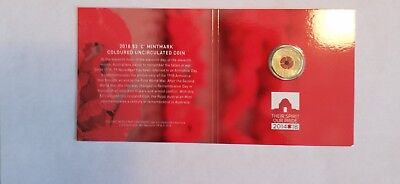 2018 $2 remembrance day C mint mark coin