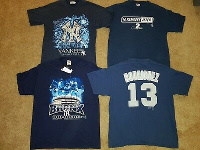 d7ffecfa301a95 LOT 4 Vintage NY Yankees Jeter Rodriguez Majestic MLB Jersey Shirt Mens M    L