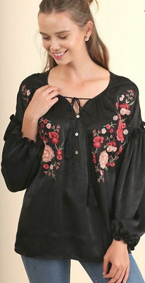 UMGEE Black Satin Floral Embroidered Puff Sleeve Tunic Top