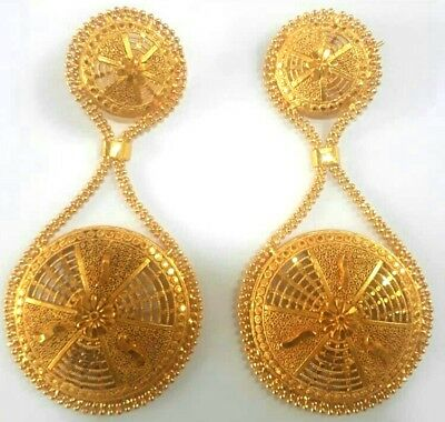 1f4419c20 22K Gold Plated Long Designer Jhumka Earrings Indian Wedding Party Set d