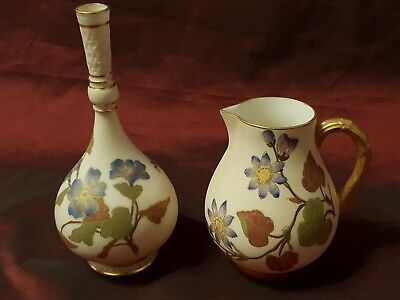 Two Late 19th Century Royal Worcester Ivory Ground Pieces Persian Vase & Jug