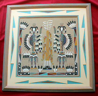 Vintage Navajo Sand Painting Soutwestern Native American Tribal Sand ART 27 X 27