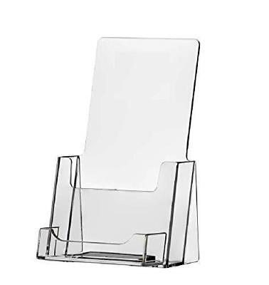 Clear Tri-Fold Brochure Holder with business card Holder (QTY: 1)
