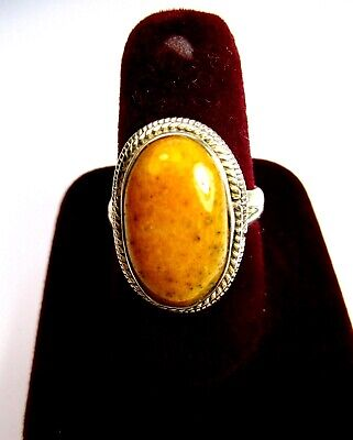 Vintage 925 St. Silver Ring Studded With Yellow Agate