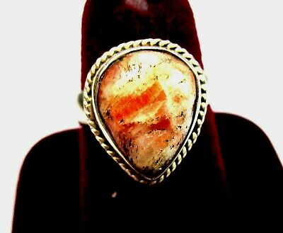 Vintage 925 St. Silver Ring Studded With Pear Shape Agate