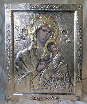 Antique icon 18th.-19th.century Russian Orthodox sterling silver