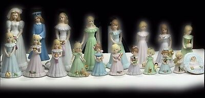 ENESCO Growing Up Birthday Girls Complete Set Of 19 Ages Baby To Bride FREE SHIP