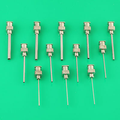 12 PCS Stainless Steel Mixed Dispensing Adhesive Syringe Needle Tips 12Ga-23Ga