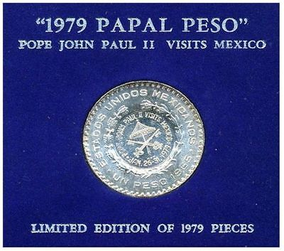 Rare 1979 Silver Papal Peso By Mel Wachs! Pope John Paul Visit! Only 1979 Struck