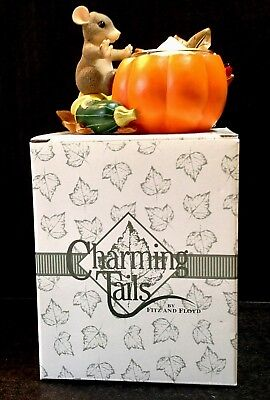 Charming Tails Figurine Pumpkin Squash Votive Candle Holder Thanksgiving Fall