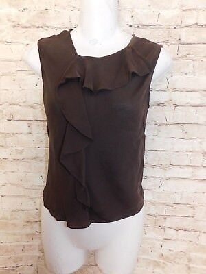 Max Studio Womens Blouse S Casual Solid Brown Sleeveless Polyester Silk