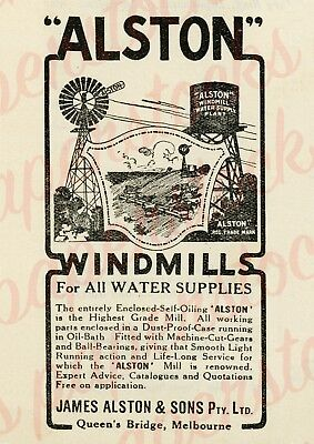 1920's JAMES ALSTON & SONS MELBOURNE WINDMILLS A3 PRINT AGRICULTURAL ADVERTISING
