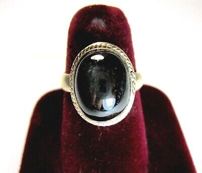 Vintage 925 St. Silver Ring Studded With Black Star Diopside