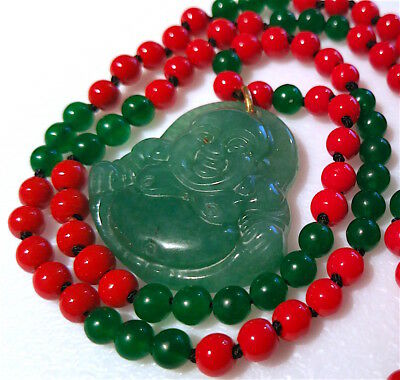 =Beautiful Vintage Red Coral/Green Jade Necklace with Buddha Pendant